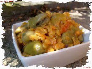 Curry de fèves et lentilles roses